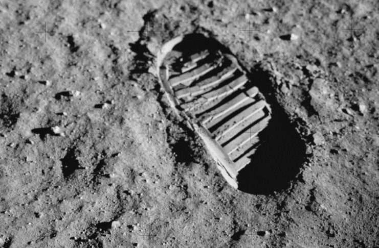 Moon footprint Buzz Aldrin