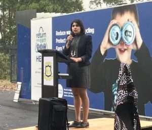 Charishma Kaliyanda delivering a talk to school students