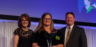 Australian Chief Scientist Dr Cathy Foley; Flt Lt Kate Yaxley; and Lockheed Martin Australia Chief Executive Joe North
